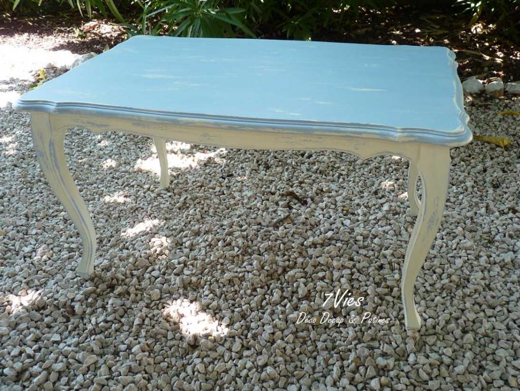 Table basse shabby bleu et écru