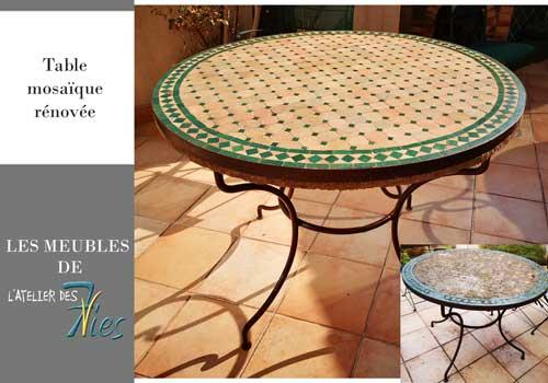 Table mosaïque rénovée