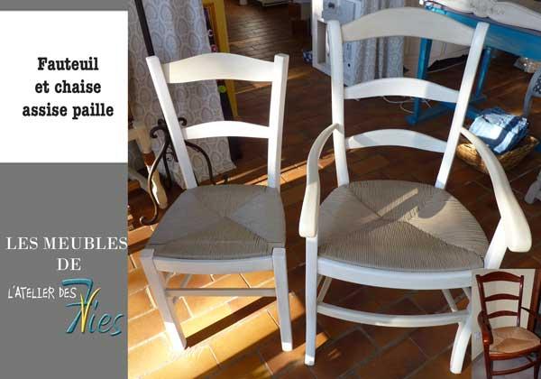Chaise et fauteuil paille