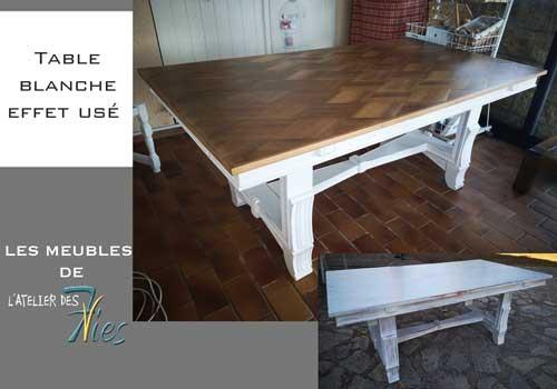 Table bois et blanc usé