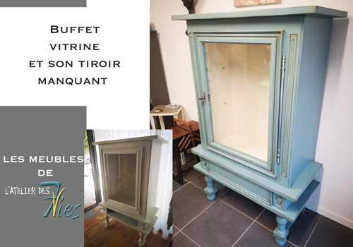 Buffet vitrine et tiroir