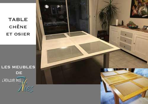 Table moderne chêne massif et cannage repeinte et éclaircie